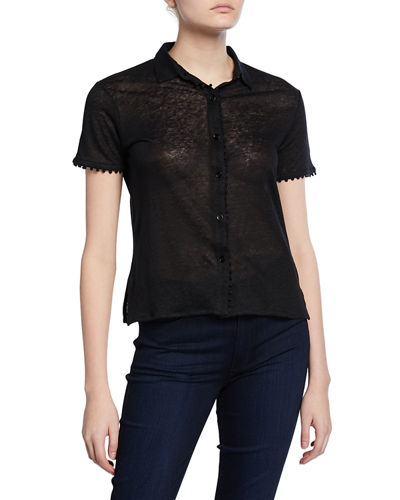 Button-Down Short-Sleeve Polo Tee with Trim