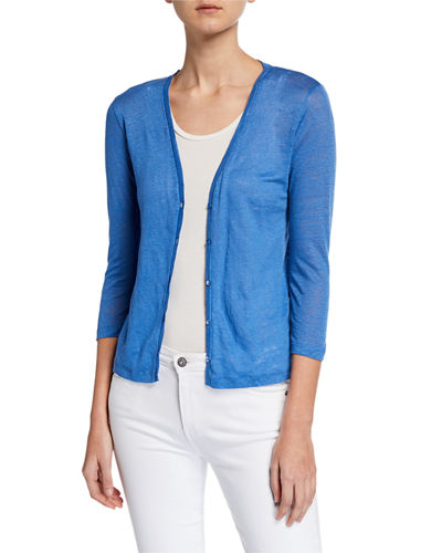 V-Neck Button-Front 3/4-Sleeve Linen Cardigan