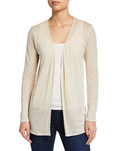 Open-Front Long-Sleeve Viscose Cardigan