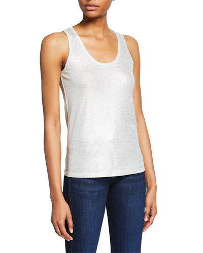 Metallic Scoop-Neck Stretch-Linen Tank