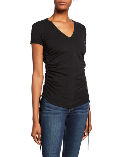V-Neck Short-Sleeve Shirred Side Tee