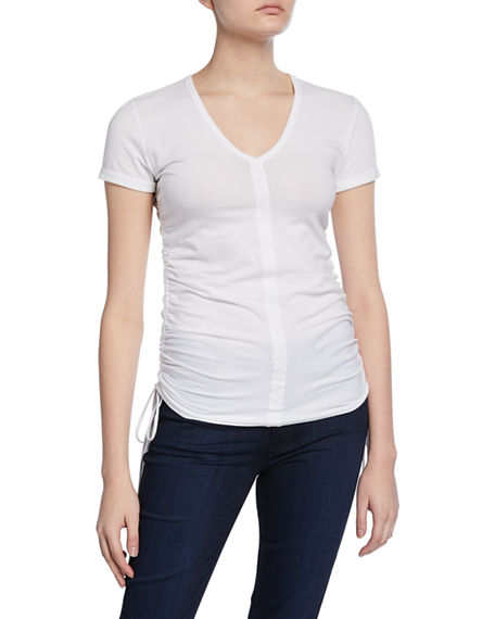Image 1 of 2: Majestic Filatures V-Neck Short-Sleeve Shirred Side Tee