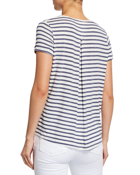 Image 2 of 2: Majestic Filatures Striped V-Neck Short-Sleeve Tee w/ Inverted Back Pleat