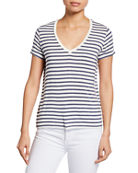 Majestic Paris for Neiman Marcus Striped V-Neck Short-Sleeve