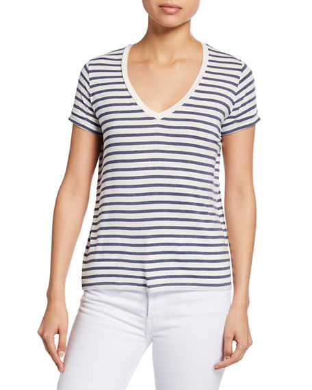 Image 1 of 2: Majestic Filatures Striped V-Neck Short-Sleeve Tee w/ Inverted Back Pleat