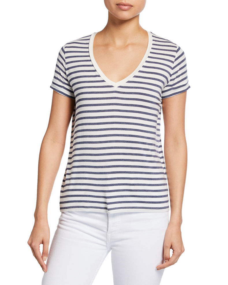 Majestic Filatures Striped V-Neck Short-Sleeve Tee w/ Inverted Back Pleat