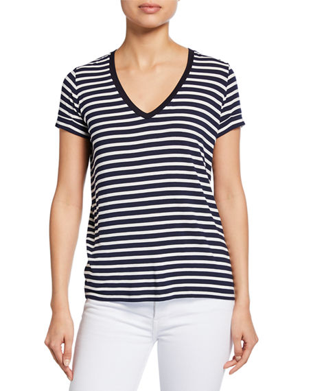 Majestic STRIPED V-NECK SHORT-SLEEVE TEE W/ INVERTED BACK PLEAT