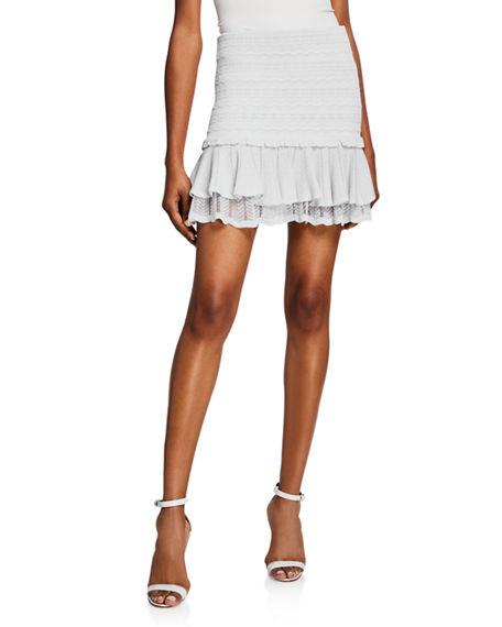 Jonathan Simkhai Skirts LACEY TIERED RUFFLE MINI SKIRT