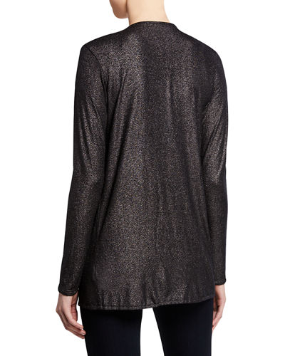 Majestic Filatures Metallic Open-Front Long-Sleeve Cardigan