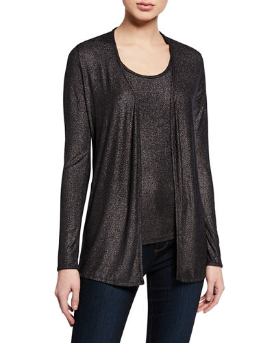 Metallic Open-Front Long-Sleeve Cardigan