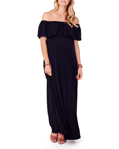 Maternity Off-The-Shoulder Maxi Dress