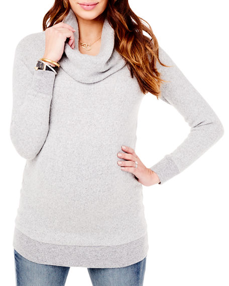 Ingrid & Isabel MATERNITY COWL-NECK SWEATER TUNIC