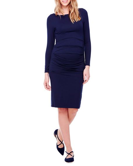 Ingrid & Isabel MATERNITY LONG-SLEEVE PLEATED TANK DRESS