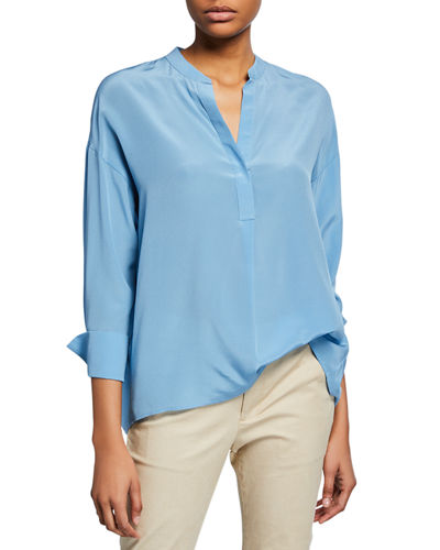 82b307d6a05db2 Quick Look. Vince · Band-Collar Silk Popover Blouse
