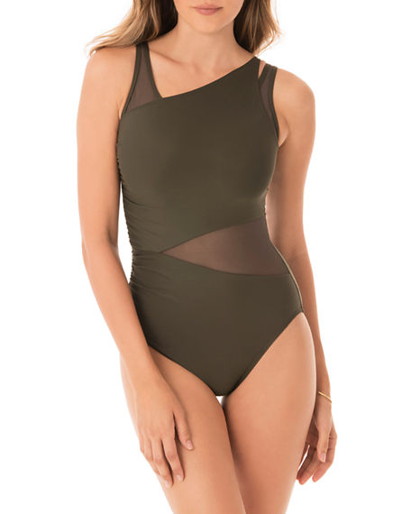 Image 1 of 3: Miraclesuit Azura Mesh High-Neck One-Piece Swimsuit