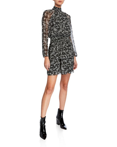 Zayee Turtleneck Long-Sleeve Mini Dress