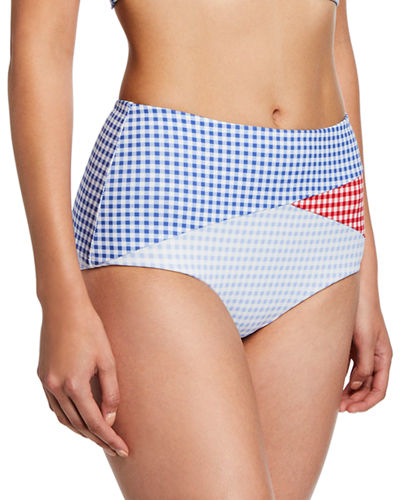 Marysia Sagaponack High-Rise Check Bikini Bottoms