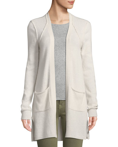 Two-Pocket Open-Front Mid-Length Cashmere Cardigan