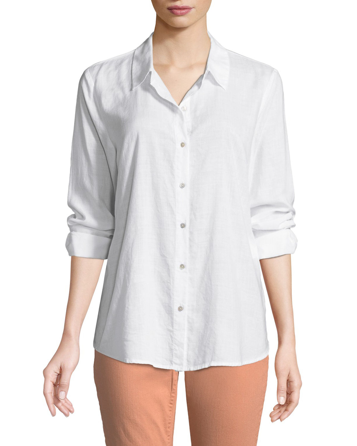 Eileen Fisher Downs PLUS SIZE CROSSHATCH CLASSIC BUTTON-FRONT SHIRT