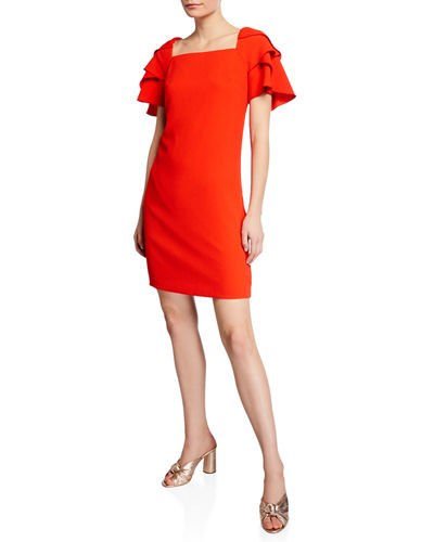 Wander Square-Neck Tiered Flounce-Sleeve Crepe Dress