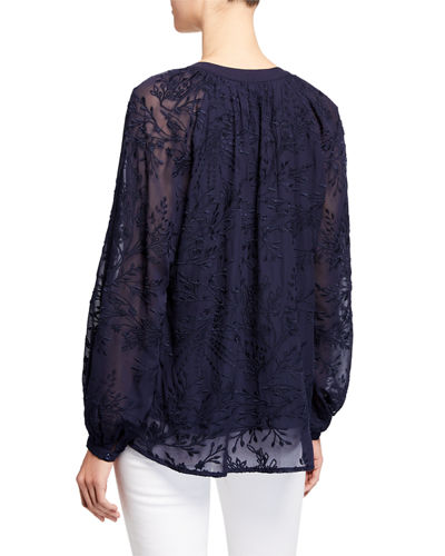 Johnny Was Rosanna Embroidered Long-Sleeve Top w/ Pompom Ties