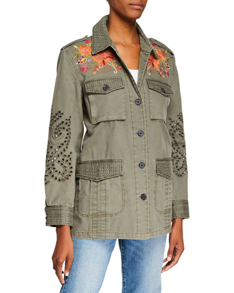 Johnny Was Violette Button-Front Military Jacket With