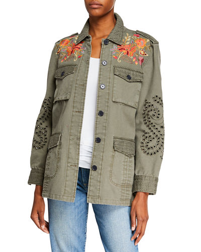 Violette Button-Front Military Jacket with Eyelet Details
