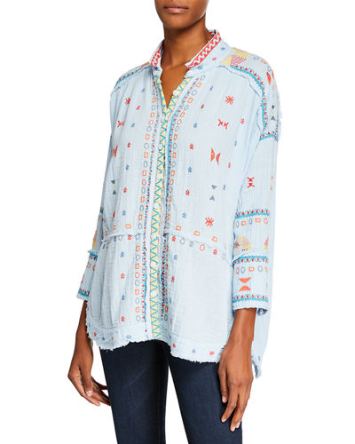 Ela Embroidered Gauze Blouse
