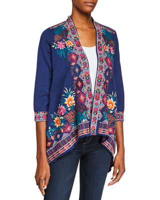 JOHNNY WAS Quinn Open-Front French-Terry Cardigan, Plus Size in Navy