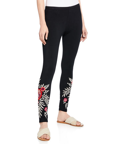 Plus Size Maya Floral Embroidered Leggings