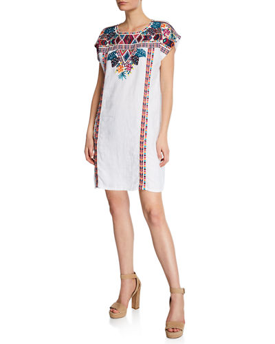 242f10615611a Quick Look. Johnny Was · Plus Size Quinn Embroidered Short-Sleeve Shift  Tunic Dress