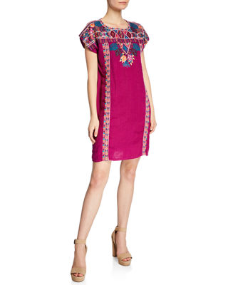 Quinn Embroidered Short-Sleeve Shift Tunic Dress, Plus Size in Grape