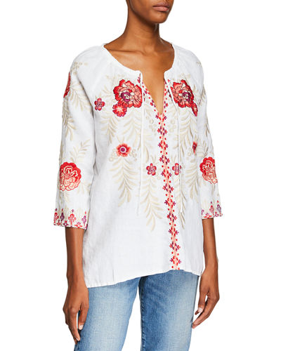 718bceba3d8bb Johnny Was White Embroidered Top