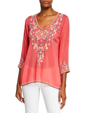 5f5fca566967e Johnny Was Plus Size Ryleigh V-Neck 3 4-Sleeve Georgette Blouse