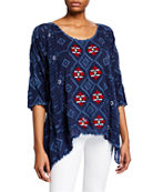 Johnny Was Plus Size Asher 3/4-Sleeve Embroidered Tunic