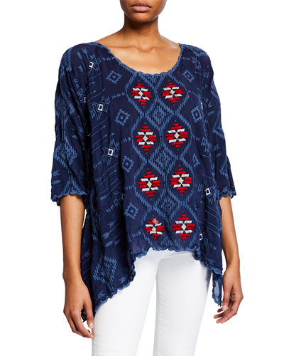 Plus Size Asher 3/4-Sleeve Embroidered Tunic
