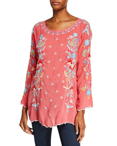 Plus Size Nico Scoop-Neck Embroidered Georgette Blouse