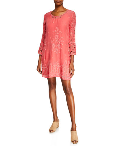 Plus Size Connor 3/4-Sleeve Eyelet-Embroidered Dress w/ Slip