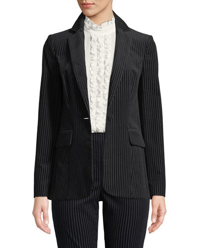 Fine Variegated One-Button Blazer Jacket