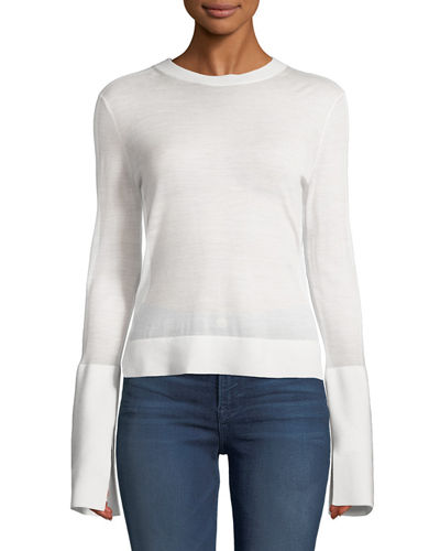 Split-Cuff Merino Wool Pullover Sweater