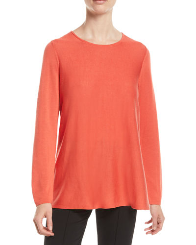 Petite Tencel®/Silk Round-Neck Sweater