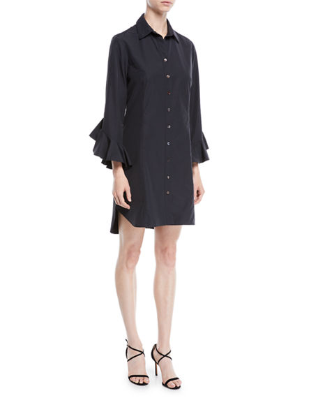 Finley CARMELLA RUFFLE-SLEEVE BUTTON-FRONT SHORT SHIRTDRESS