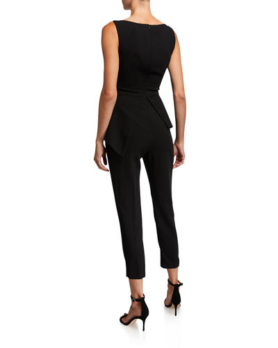Black Halo Kasia Sleeveless Peplum Jumpsuit