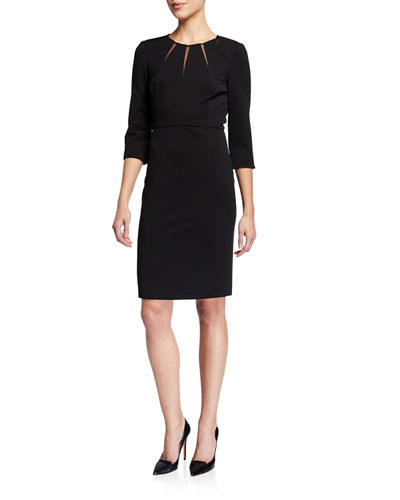 Sunburst 3/4-Sleeve Sheath Dress