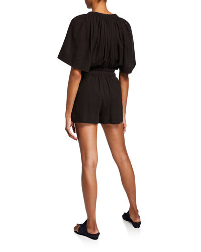 Vince Short-Sleeve Poet Blouse with Tassel-Ties