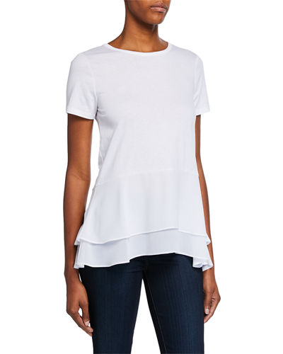 Crewneck Short-Sleeve Double Hem Top