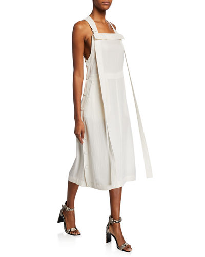 Adrian Square-Neck Side-Button Midi Dress