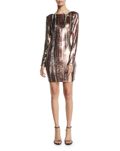 Lola Long-Sleeve Sequin Brushstroke Dress