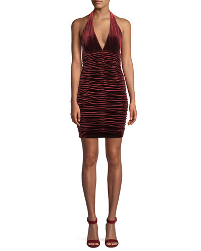 V-Neck Shirred Velvet Body-Con Mini Cocktail Halter Dress