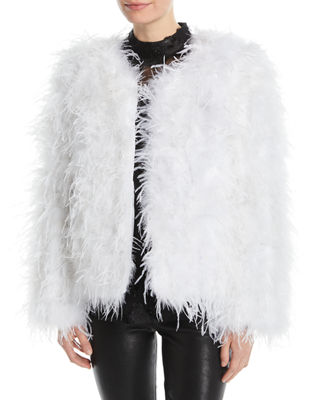 JOVANI Long-Sleeve Ostrich Feather Jacket in Ivory